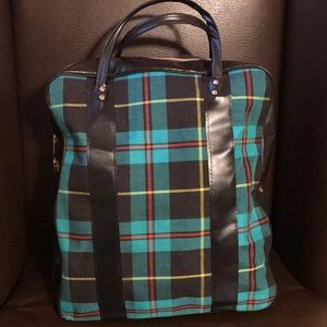 Vintage Plaid Tote Travel Bag
